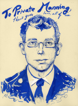 Bradley Manning Print by Molly Crabapple